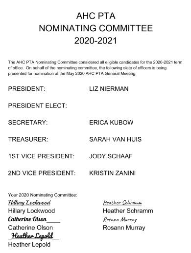 AHC PTA SLATE 2020-2021